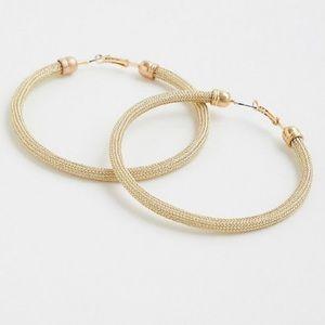 "NWT Torrid oversized 3"" gold mesh hoop earrings"